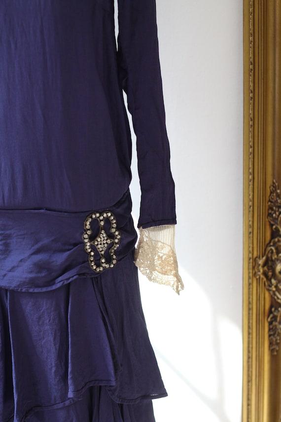 1920s cobalt blue silk dress // 1920s lace flappe… - image 3
