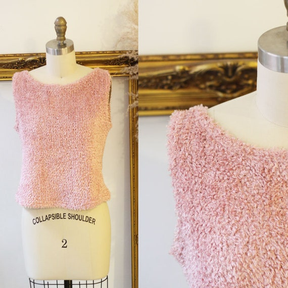 1990s pink knit tank top // 90s fuzzy tank top //