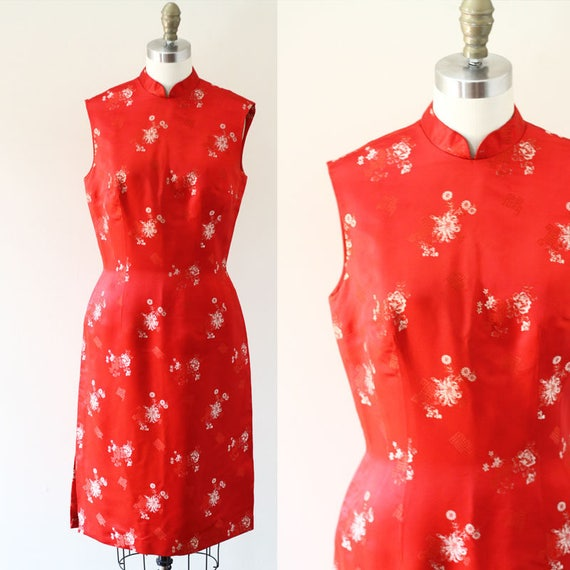 1970s Red Silk Cheongsam Dress // 1970s red dress // vintage dress