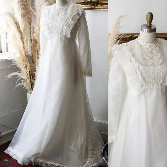 1970s sheer long sleeve wedding dress // 1970s boho lace wedding dress // vintage bridal dress