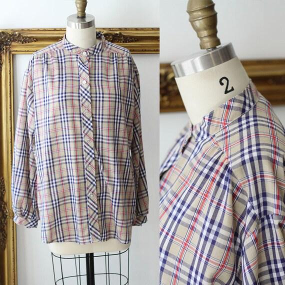 1970s blue plaid blouse // 1970s plaid top // 1970s blouse