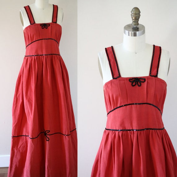 1960s red maxi dress // 1960s sequin bow dress // vintage dress