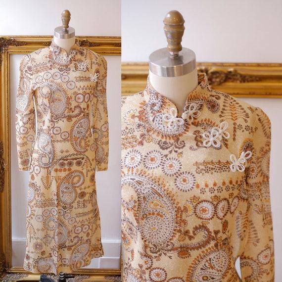 1960s gold Cheongsam Dress // 1970s gold sheer dress // vintage dress
