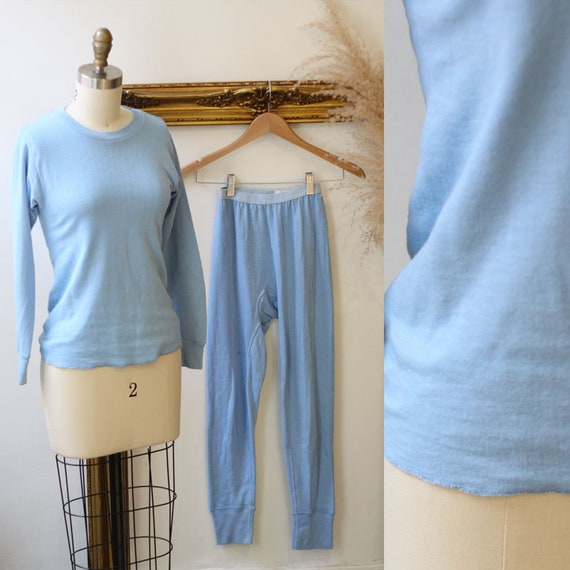 1970s blue thermal two piece set // 1970s  lounge set // 1970s two piece set