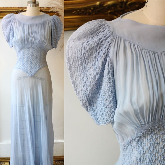 1930s sheer blue dress // 1930s silk dress dress  // vintage dress