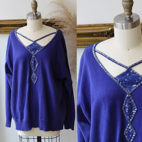 1990s blue Bob Mackie sweater // 1980s blue beaded sweater // vintage sequin sweater