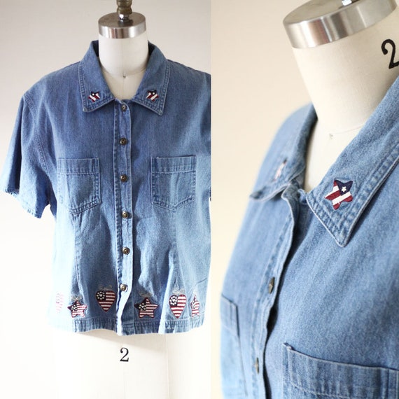 1980s short sleeve denim blouse // 1980s jean shirt // vintage denim shirt