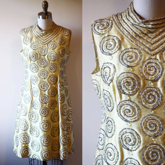 1960s yellow beaded party dress // cocktail dress // vintage dress