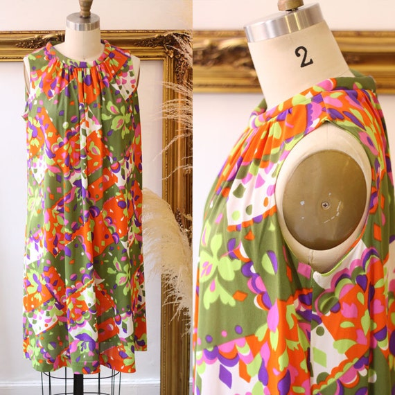 1960s floral shift dress // 1960s geometric floral dress  // vintage shift dress