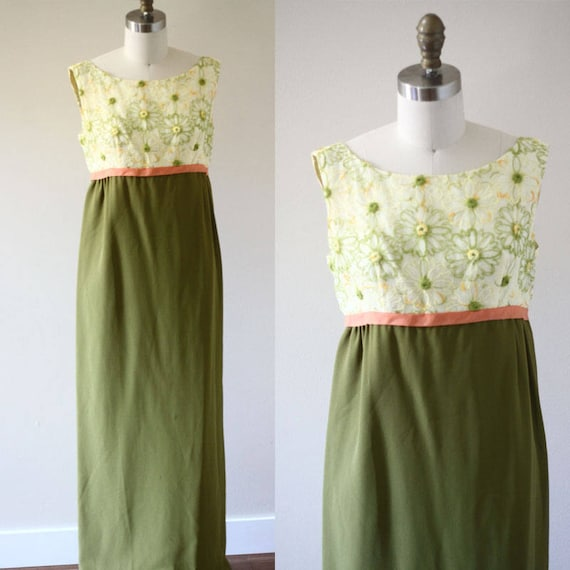 1960s green column dress  //  1960s green floral dress // vintage formal dress