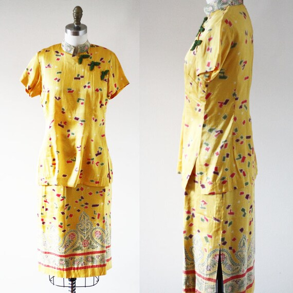 1970s geometric dress set // 1970 yellow skirt set // vintage dress set