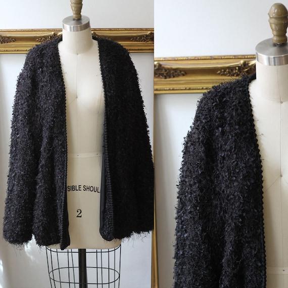 1980s black fuzzy oversized cardigan // 1980s black cardigan sweater // vintage sweater