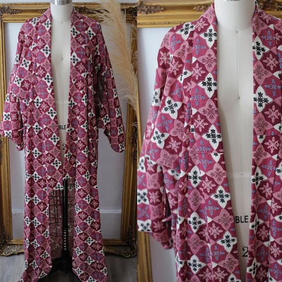 1960s pink haori // 1970s diamond print haori // vintage haori jacket