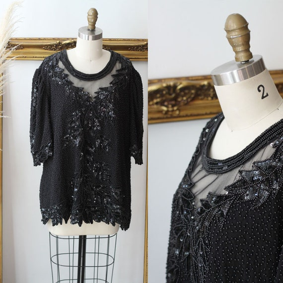 1980s black beaded sheer blouse // 1980s black mesh short sleeve // 1980s beaded top