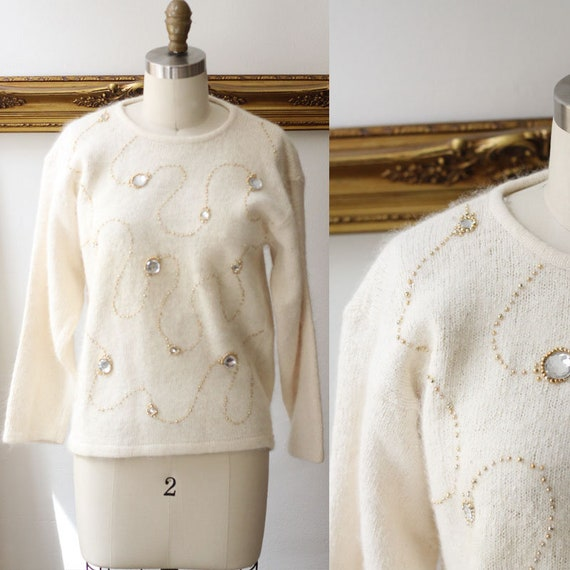 1980s white angora sweater // vintage gemstone sweater // vintage jumper