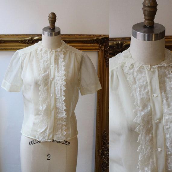 1950s sheer ivory blouse // 1950s nylon blouse // vintage top