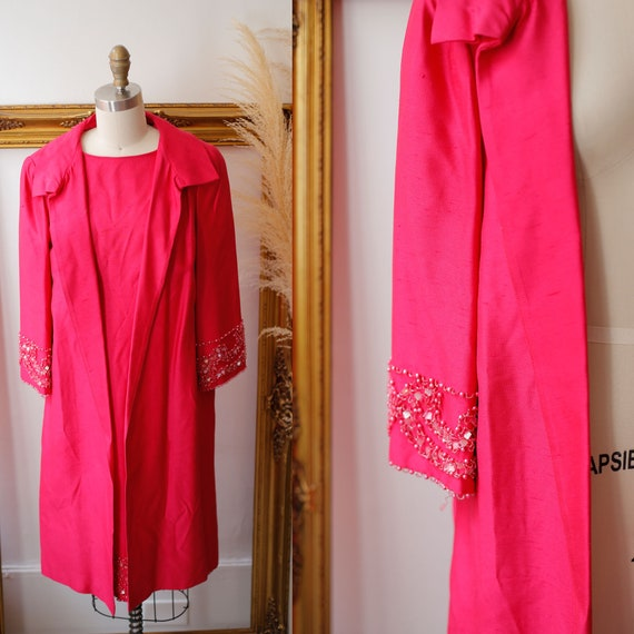 1960s two piece dress set // 1960s pink dress jacket // vintage beaded dress suit