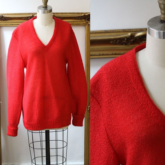 1950s red mohair sweater // vintage long red sweater //vintage Avon knit sweater