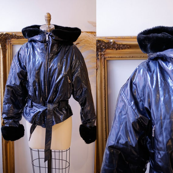 1990s shiny vinyl jacket //1990s bomber jacket  // vintage bomber jacket