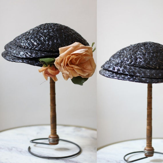 1950s navy blue woven hat // 1950s floral hat // vintage woven hat