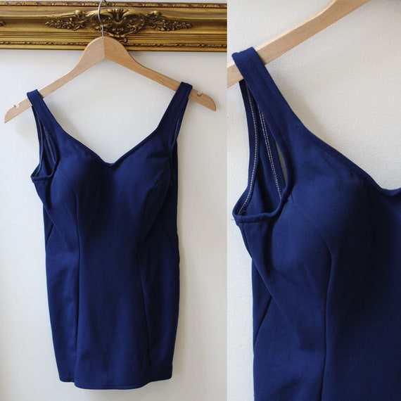 1960s navy blue Jantzen Bathing Suit // Vintage Jantzen // Pin Up style bathing suit