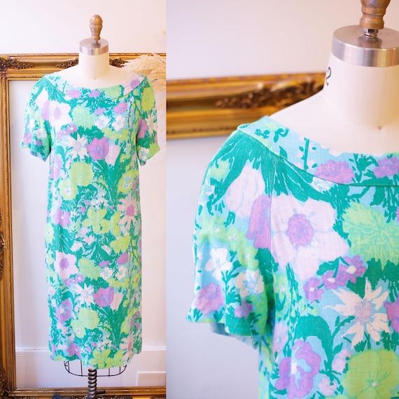 1960s floral dress // 1960s floral shift dress // vintage dress