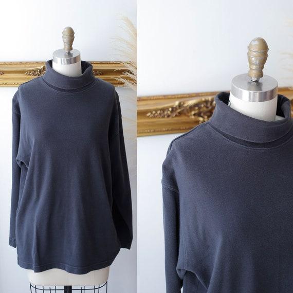 1990s worn black turtleneck // 1990s cotton turtleneck // vintage turtleneck