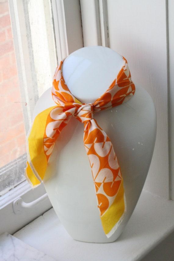 1970s sheer orange scarf // vintage neck scarf // vintage nylon scarf