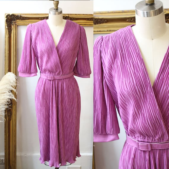 1970s purple pleated dress //  1970s purple wrap dress // vintage party dress