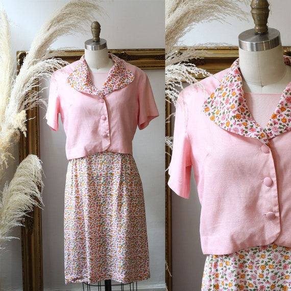 1960s pink floral dress set // 1960s floral pink dress // vintage dress set