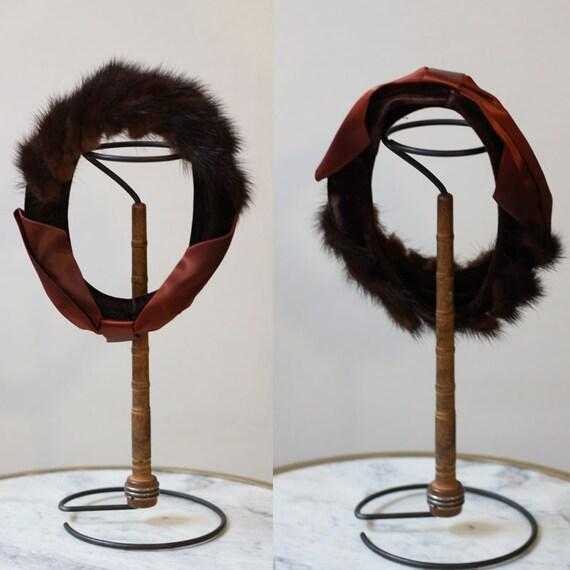 1950s fur headband hat // 1950s brown fur hat // vintage hat