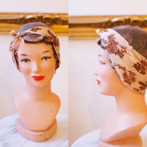 1960s sheer brown floral scarf // vintage neck scarf // vintage floral scarf