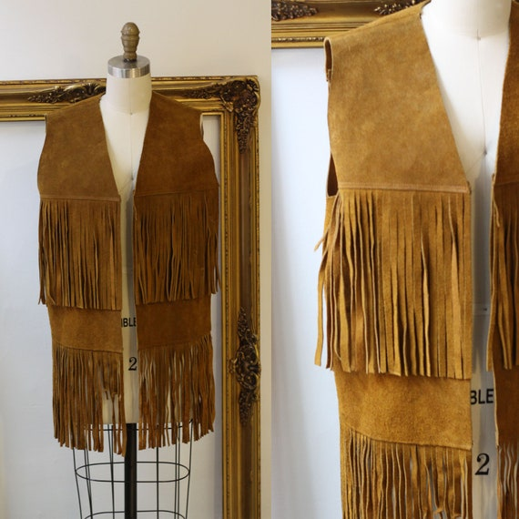 1970s brown fringe leather vest // leather fringe vest // Vintage Tops