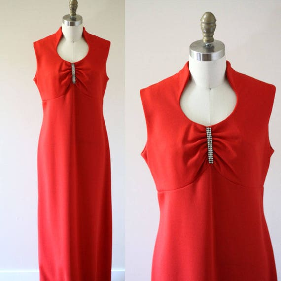 1970s red maxi dress // 1970s red rhinestone dress // vintage dress