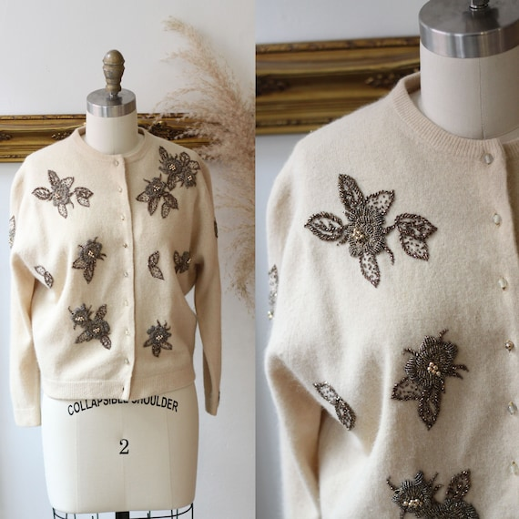 1950s copper beaded cardigan // 1950s tan cardigan // vintage sweater