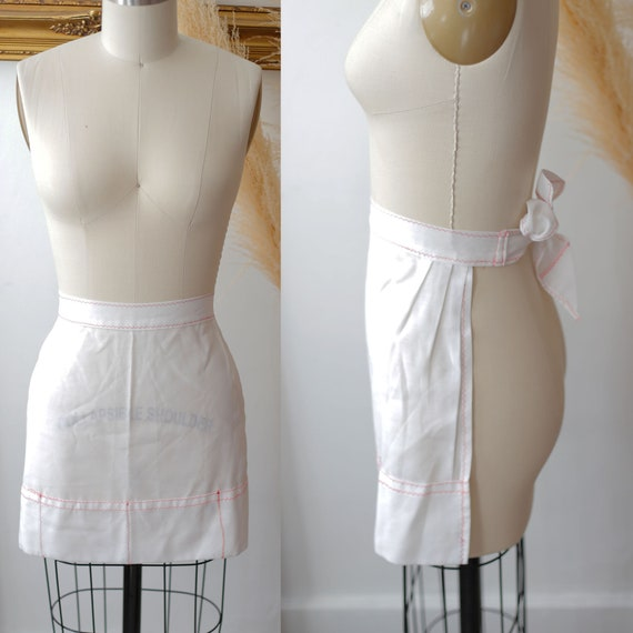 1960s pink and white apron // vintage apron //vintage apron