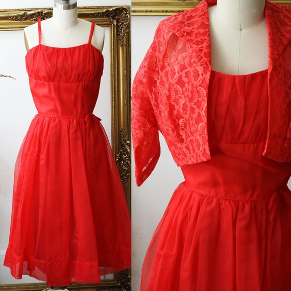 1950s red nylon dress // 1950s two piece dress // vintage dress