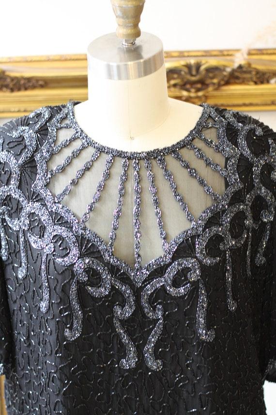 1980s black beaded mesh blouse // 1980s beaded si… - image 3