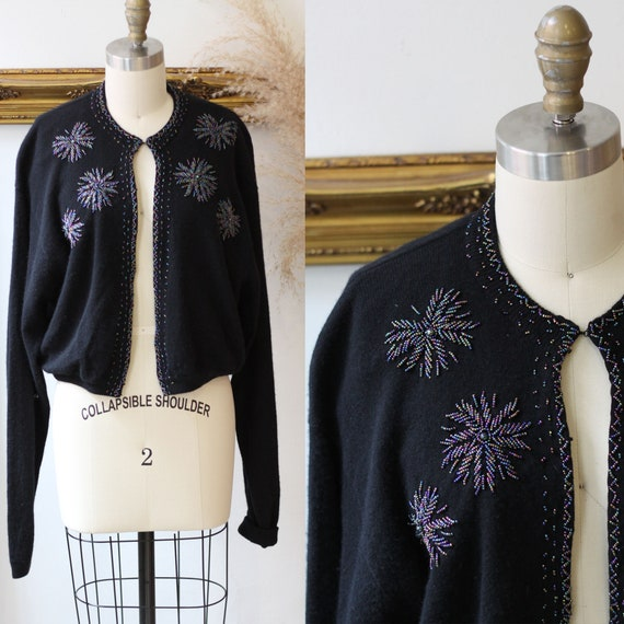 1980s black beaded cardigan// 1980s beaded cardiga