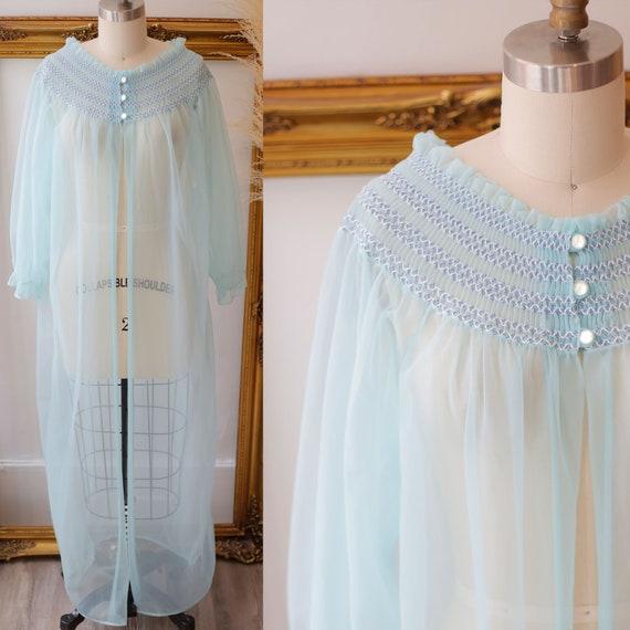 1960s blue sheer robe // 1960s robe // vintage sheer robe