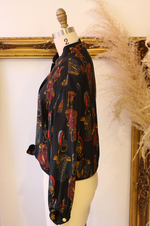 1980s novelty print blouse // 1980s solider print… - image 5