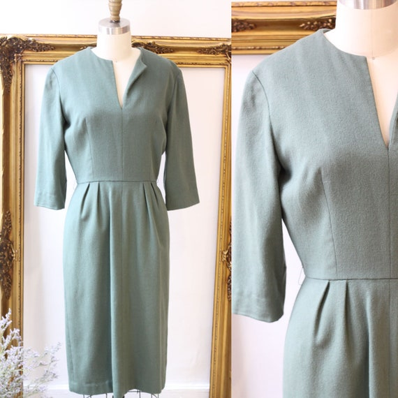 1960s sage green wool dress // 1960s sheath dress with sleeves // vintage dress