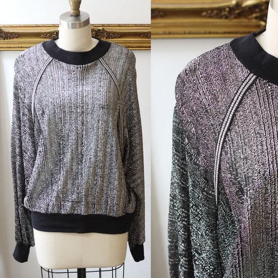 1970s sheer sweatshirt // 1970s sheer sparkly top // vintage silver top