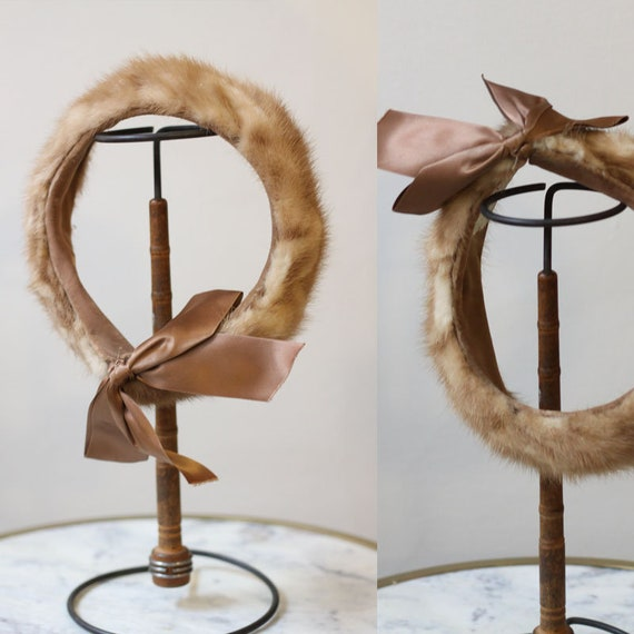 1950s fur headband // 1950s brown fur hat // vinta