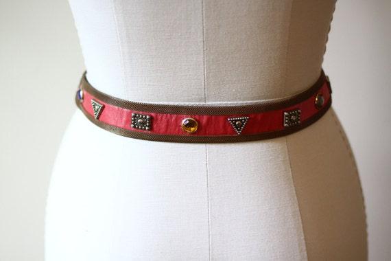 1980s red leather belt // 1980s gold mesh belt // vintage belt