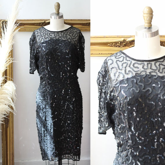 1980s Sheer Sequin Dress // 1980s black sequin dress // vintage cocktail dress