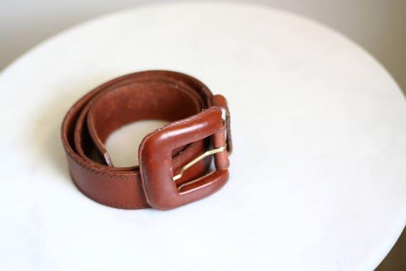 1970s large leather belt // 1970s leather belt // vintage belt