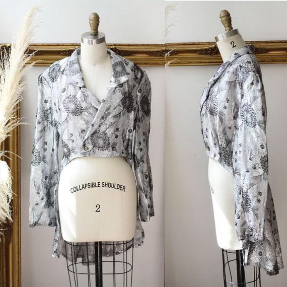 1970s silver jacquard tuxedo jacket //1970s silver tailcoat // 1970s silver sparkly tuxedo