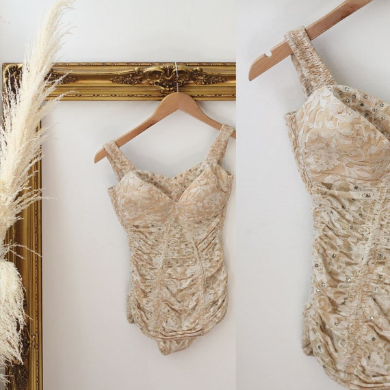 1950s Champagne Lace One Piece // 1950 rhinestone swimsuit // 1950s Alix of Miami