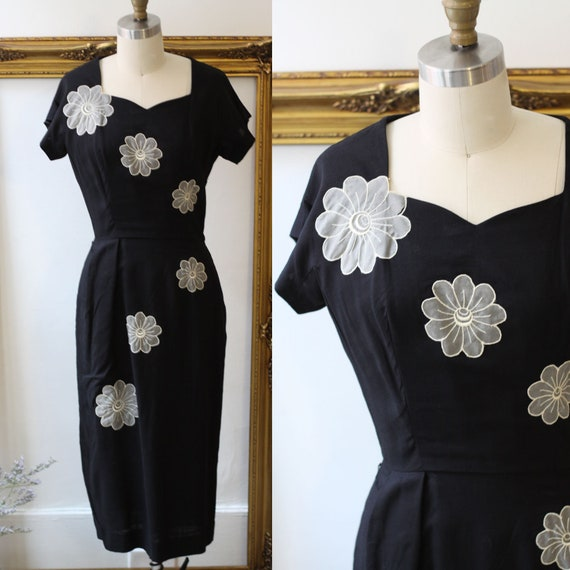 1960s large floral wiggle dress // little black dress // vintage wiggle dress